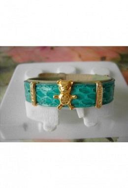 Schmuckarmband mit wunderschönen zauberhaften Aufsteckelementen Motiv Bär mit Kristallen+2Schiebeelementen m.Kristalle/Band grün